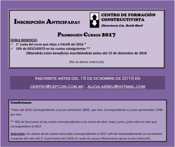 INSCRIPCIONES ANTICIPADAS. CURSOS 2017.