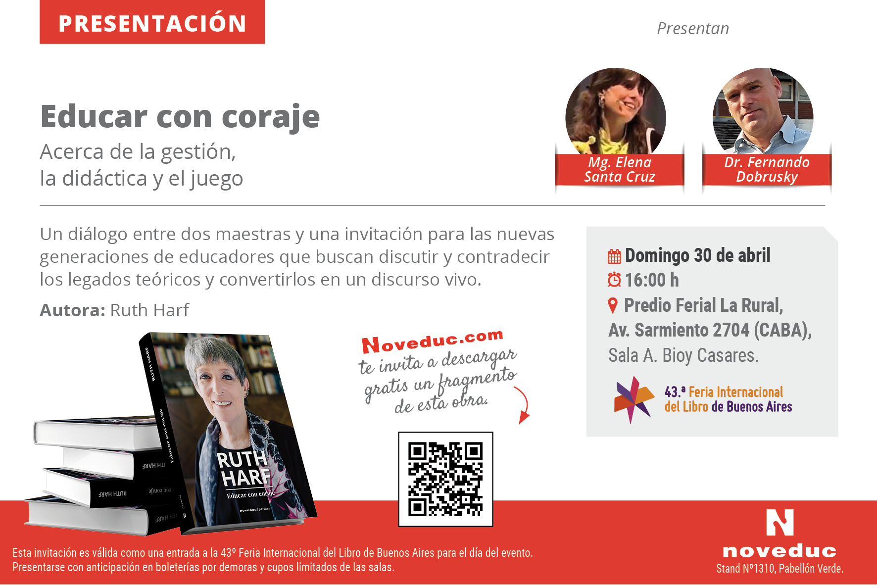 """Ruth Harf presenta su libro """"Educar con coraje"""". Te esperamos en la Feria del Libro!"""